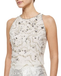 Phoebe Couture Phoebe Sleeveless Beaded Crop Top White Silver