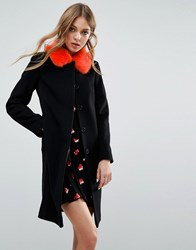 Helene Berman Longline Vintage Coat With Contrast Faux Fur Collar Black Orange