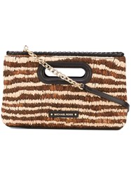 Michael Michael Kors Striped Clutch Women Leather Straw One Size Brown
