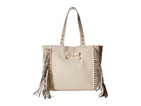 Betsey Johnson Fringe Party Tote Cream Tote Handbags Beige