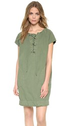 Nili Lotan Lace Up Short Sleeve Dress Camo