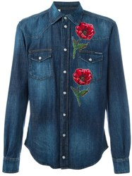 Dolce And Gabbana Embroidered Poppy Denim Shirt Blue