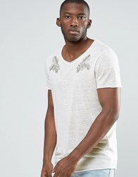 Asos Longline T Shirt With Embroidered Lions In Linen Look Off White
