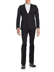 Versace Regular Fit Wool Suit Navy