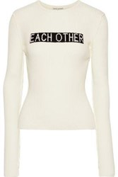 Each X Other Ribbed Intarsia Cotton Sweater Cream