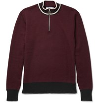 Ami Alexandre Mattiussi Stripe Trimmed Wool Half Zip Sweater Burgundy