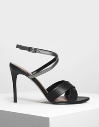 Charles And Keith Criss Cross Heeled Sandals Black