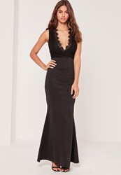 Missguided Black Lace Top Plunge Maxi Dress