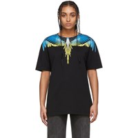 Marcelo Burlon County Of Milan Black And Yellow Wings T Shirt