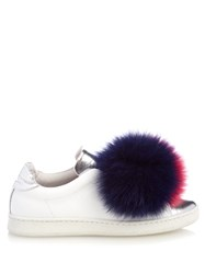 Joshua Sanders Fur Pompom Leather Trainers Pink Multi
