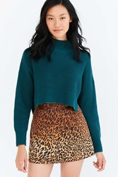 Silence And Noise Cropped Mock Neck Sweater Green