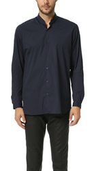 The Kooples Stand Collar Stretch Shirt Navy