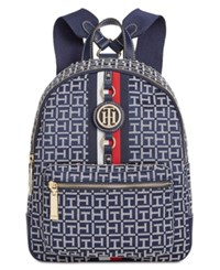 Tommy Hilfiger Jaden Monogram Jacquard Small Backpack Navy White