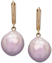 Honora Style Pink Cultured Freshwater Pearl 12 Mm Drop Earrings In 14K Gold