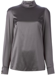 Dolce And Gabbana High Standing Collar Blouse Grey