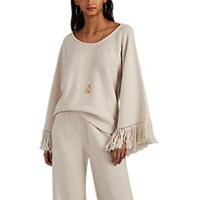 Lisa Perry Fringed Milano Stitched Wool Cashmere Sweater Ivorybone