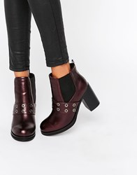 Park Lane Eyelet Heeled Chelsea Boots Bordeaux Red