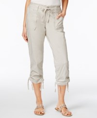 Inc International Concepts Ruffled Waist Cropped Cargo Pants Only At Macy's Toad Beige