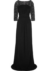 Issa Embellished Stretch Crepe Gown Black