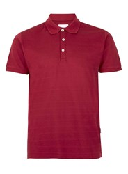 Peter Werth Red Textured Stripe Polo Neck T Shirt