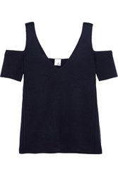 Iris And Ink Savannah Cold Shoulder Milano Knit Wool Top Midnight Blue