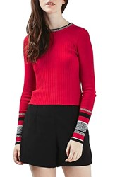 Topshop Women's Stripe Cuff Crop Top Red