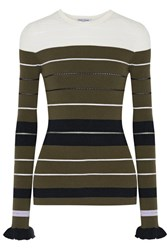 Opening Ceremony Striped Ribbed Stretch Knit Sweater Army Green