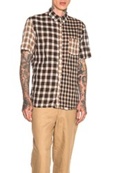 Kolor Beacon Mixed Plaid Shirt In Brown Neutrals Checkered And Plaid