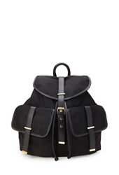 Forever 21 Faux Leather And Canvas Knapsack Black