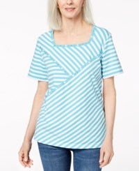 Alfred Dunner Studded Square Neck T Shirt Aqua