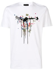 Diesel Black Gold T Shirt With Dripping Print White