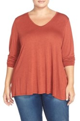 Sejour V Neck A Line Tee Plus Size Red