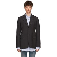 Balenciaga Grey Hourglass Single Breasted Coat