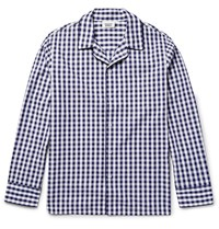 Sleepy Jones Leepy Jone Henry Gingham Cotton Pyjama Hirt Navy