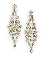 Stephen Dweck 5Mm Green Pearl And Bronze Trellis Earrings Bronze Green