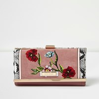 River Island Womens Pink Floral Embroidered Clip Top Purse