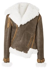 Monse Asymmetric Shearling And Textured Leather Biker Jacket Dark Brown
