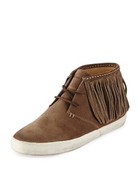Dylan Fringe Suede Ankle Boot Gray Frye