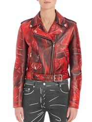 Moschino Faded Faux Leather Moto Jacket Red