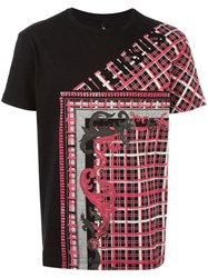 Versus Stylised Check Print T Shirt Black