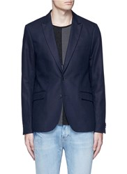 Scotch And Soda Notch Lapel Cotton Linen Blazer Blue