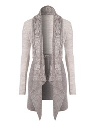 Jane Norman Two Tone Waterfall Cardigan Stone