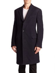 Salvatore Ferragamo Long Sleeve Wool Coat Navy