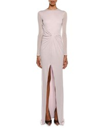 Tom Ford Long Sleeve Draped Front High Slit Column Evening Gown Purple