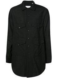 Song For The Mute Four Pocket Oversized Shirt Silk Wool Black