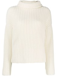 Dusan Knitted Roll Neck Jumper White