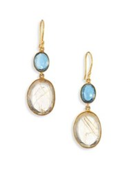 Lena Skadegard Moss Aquamarine Rutilated Quartz And 18K Yellow Gold Double Drop Earrings Gold Aqua