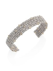 Alexis Bittar Crystal Lace Cuff Bracelet Silver