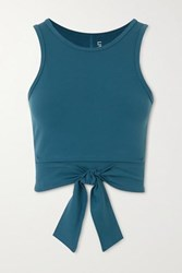 Live The Process Ballet Cropped Tie Detailed Stretch Supplex Top Blue