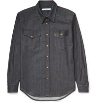 Givenchy Brut Leather Trimmed Stretch Denim Shirt Blue